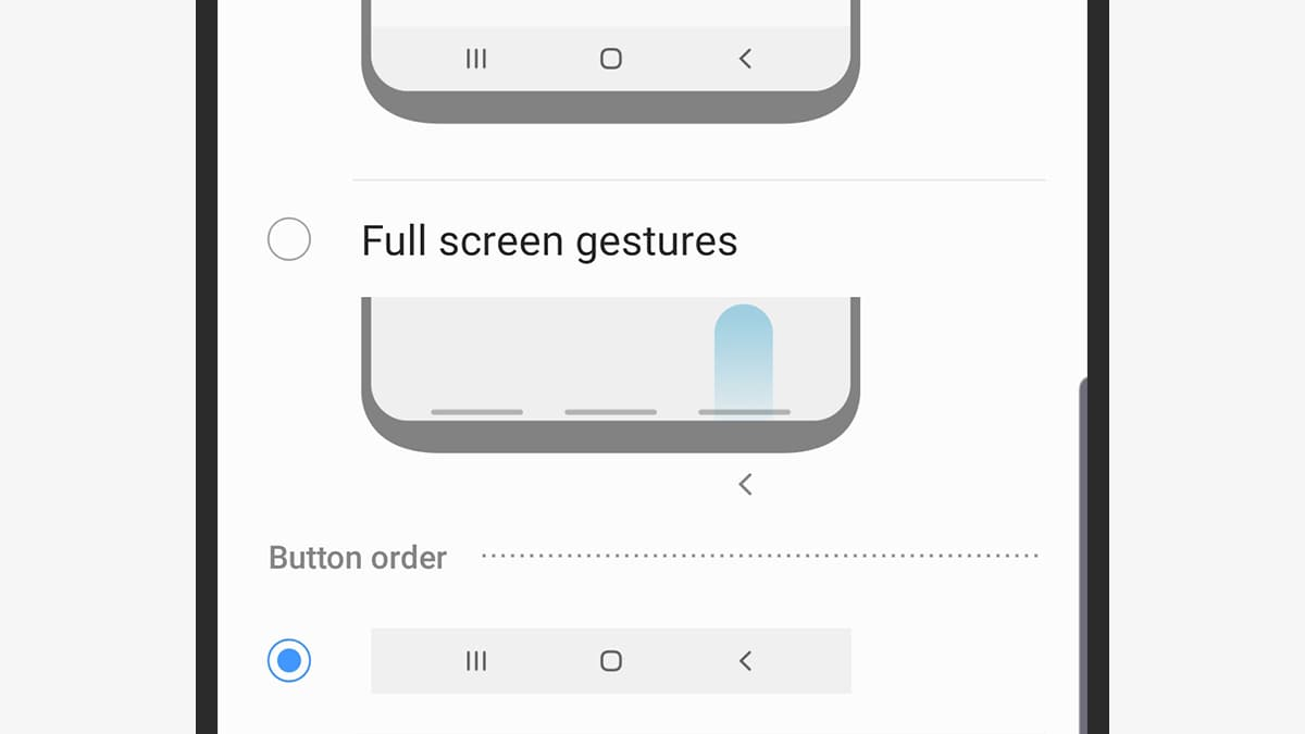 Opções de gestos do Android 9 em um smartphone da Samsung