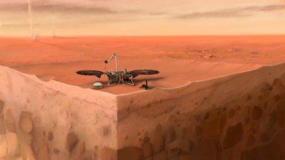 O conceito artístico da sonda InSight em Marte
