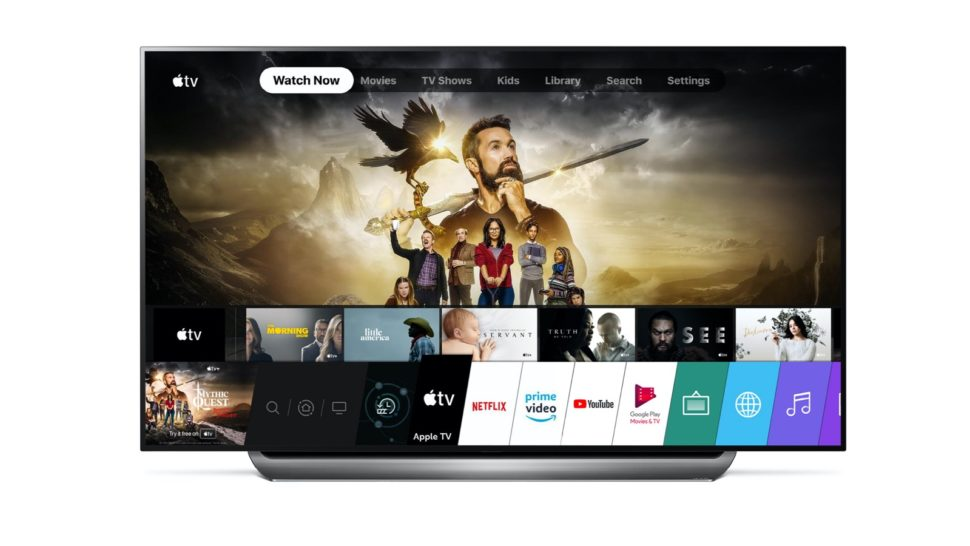 Interface da Apple TV em aparelho da LG