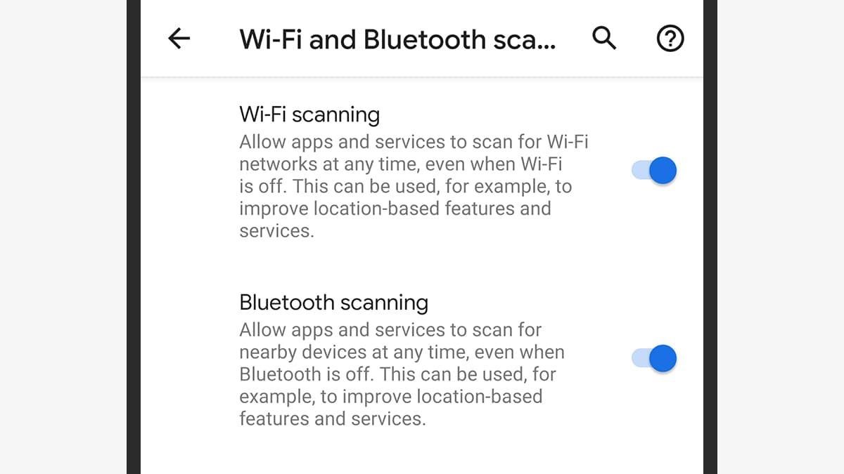 Opções de localização do Android