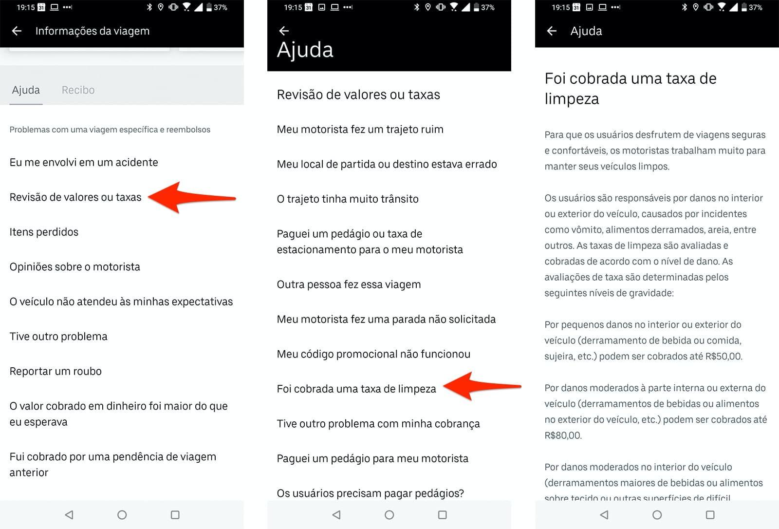 Instruções para reclamar da taxa de limpeza do Uber