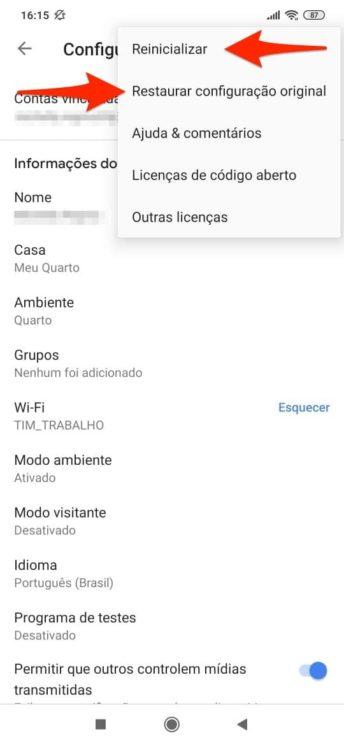 Opções para reiniciar ou restaurar Chromecast no app Google Home