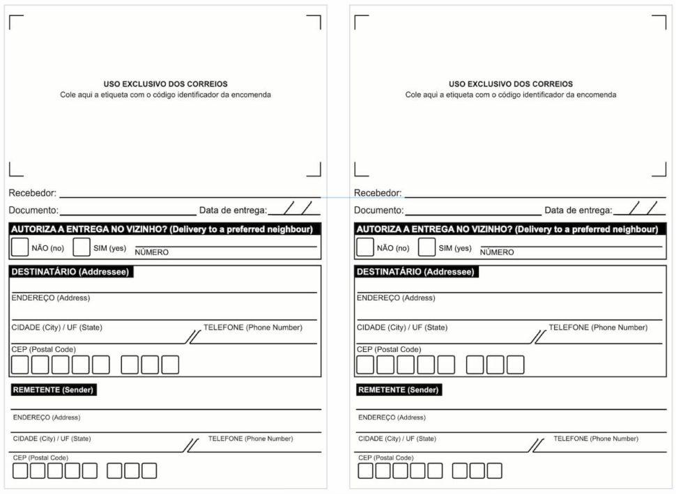 Etiqueta de endereçamento padronizadas pelos Correios