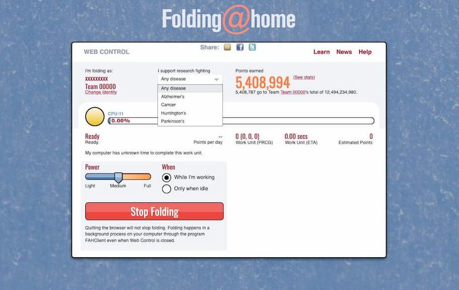 Tela de preferências do Folding@Home na web