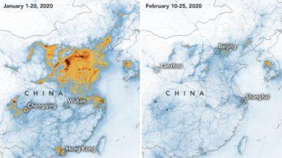 Mapa compara emissões de dióxido de nitrogênio na China
