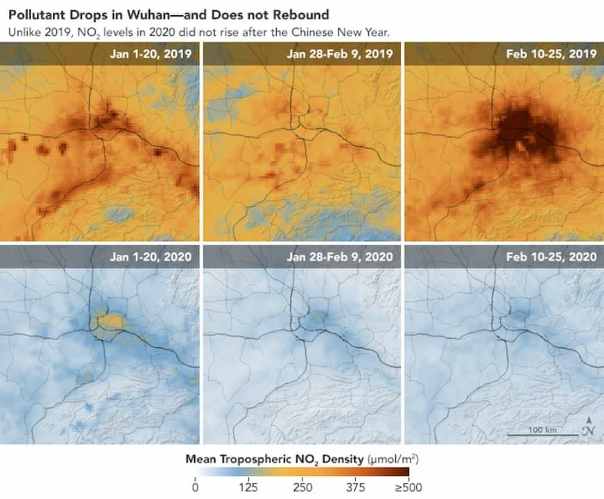 Mapa aproximado de concentração de dióxido de nitrogênio na China
