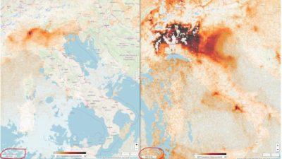 Dados de satélite mostrando as emissões de dióxido de nitrogênio sobre o norte da Itália em 7 de março (esquerda) e 8 de fevereiro (direita)