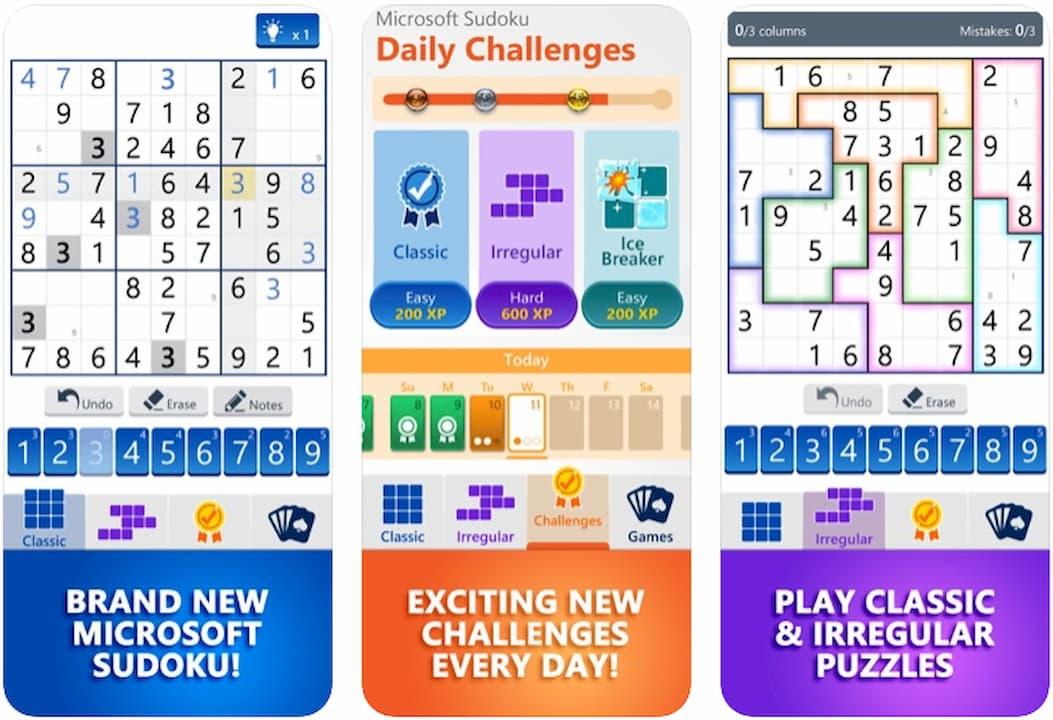 Tela do jogo Sudoku da Microsoft