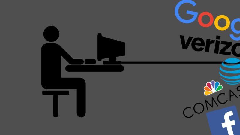 Ilustração mostrando computador e marcas de tecnologia