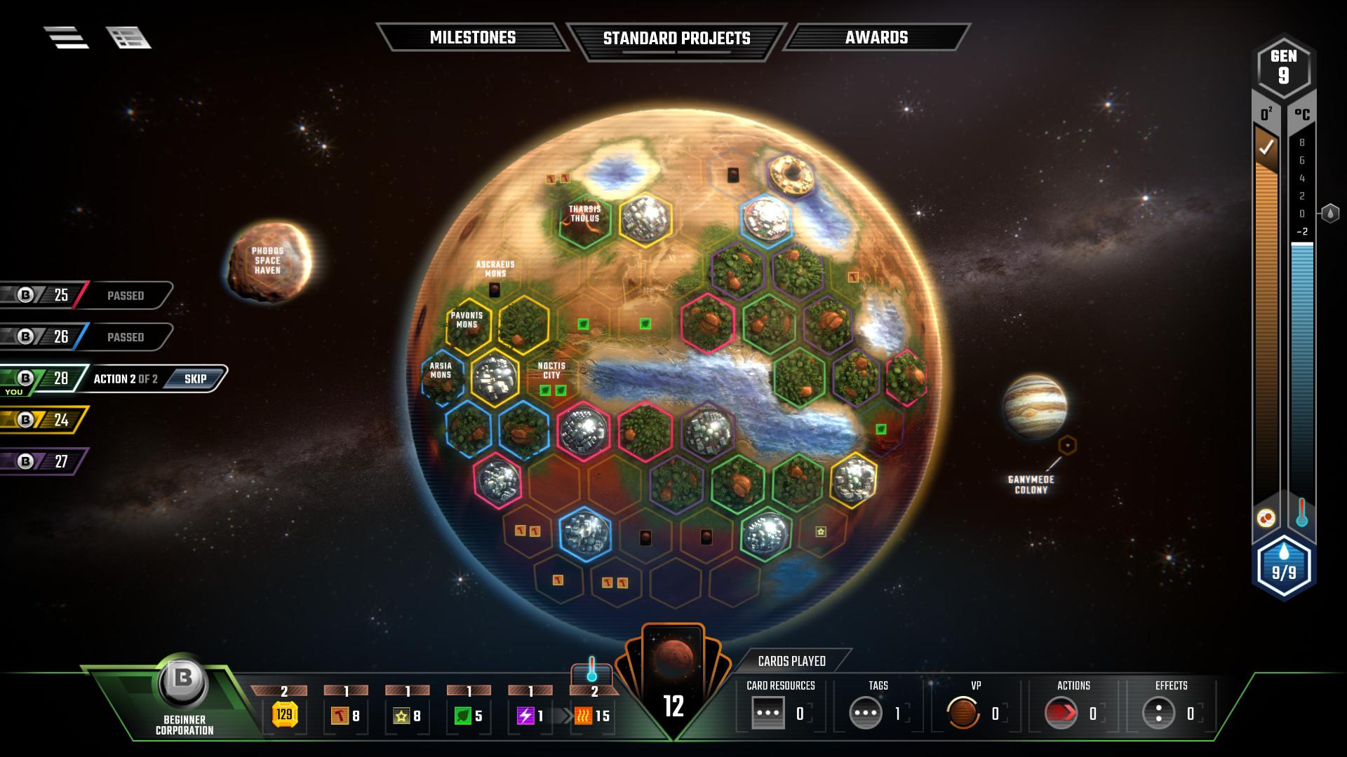 Gameplay do jogo Terraform Mars