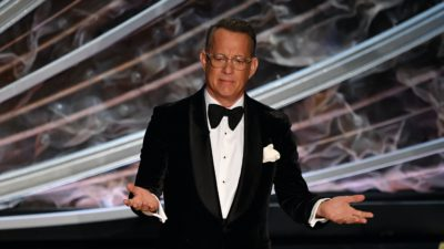 Tom Hanks durante cerimônia do Oscar 2020. Crédito: Getty Images