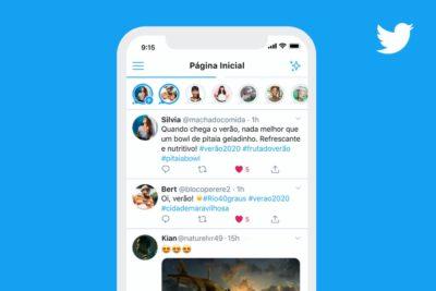 Interface do Twitter Fleet na página inicial
