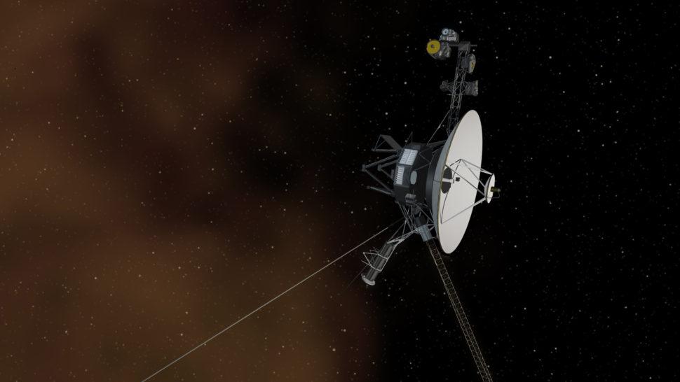 Concepção artística da sonda Voyager 2 no espaço interestelar. Crédito: NASA/JPL-Caltech