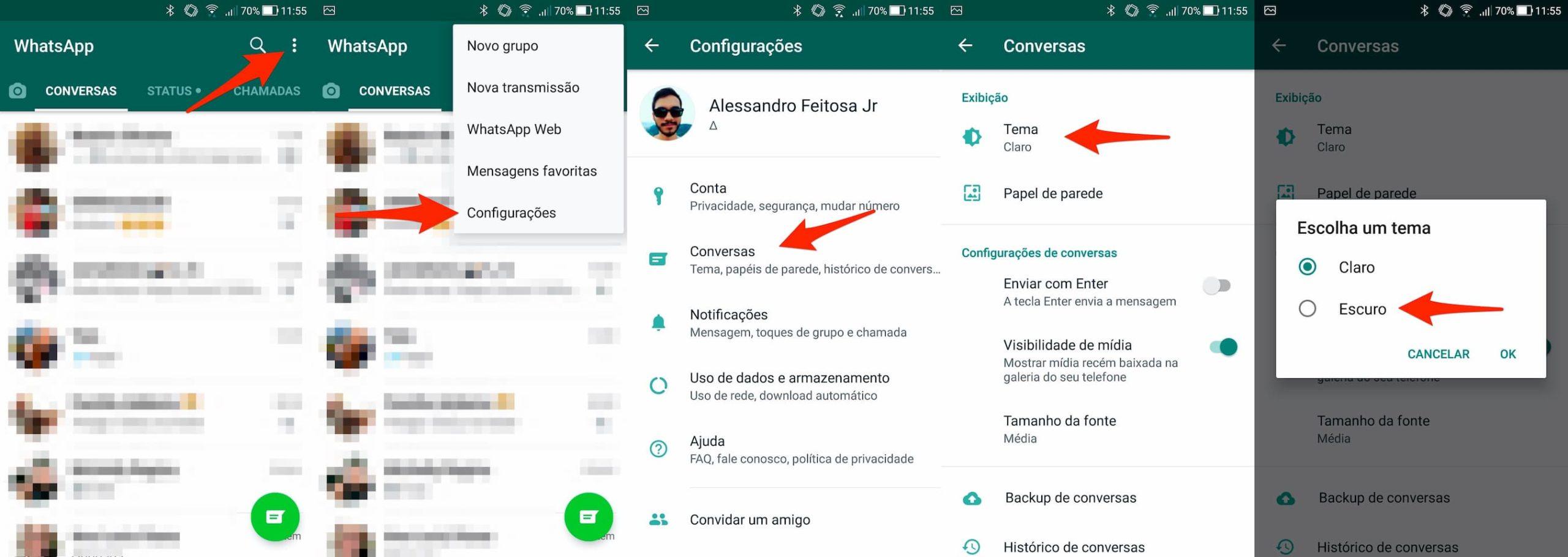 Passo a passo para deixar o WhatsApp escuro no Android 9 ou inferior