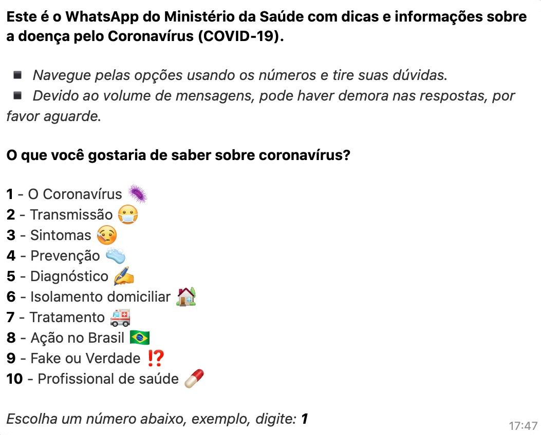 Opções de temas do bot do Ministério da Saúde no WhatsApp