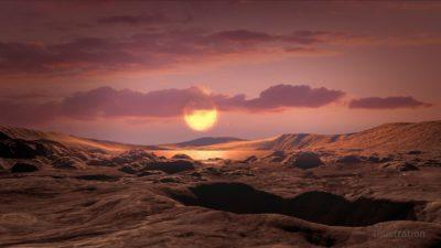 Representação artística da superfície de Kepler-1649c, com a sua estrela anã vermelha no horizonte