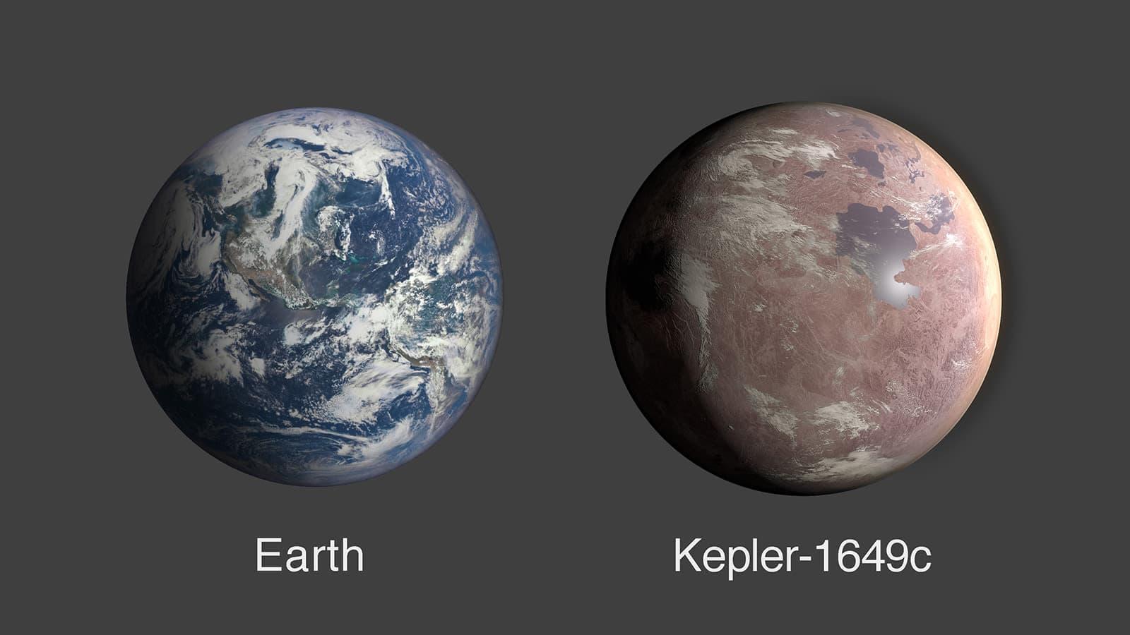 Comparação entre a Terra e o Kepler-1649c