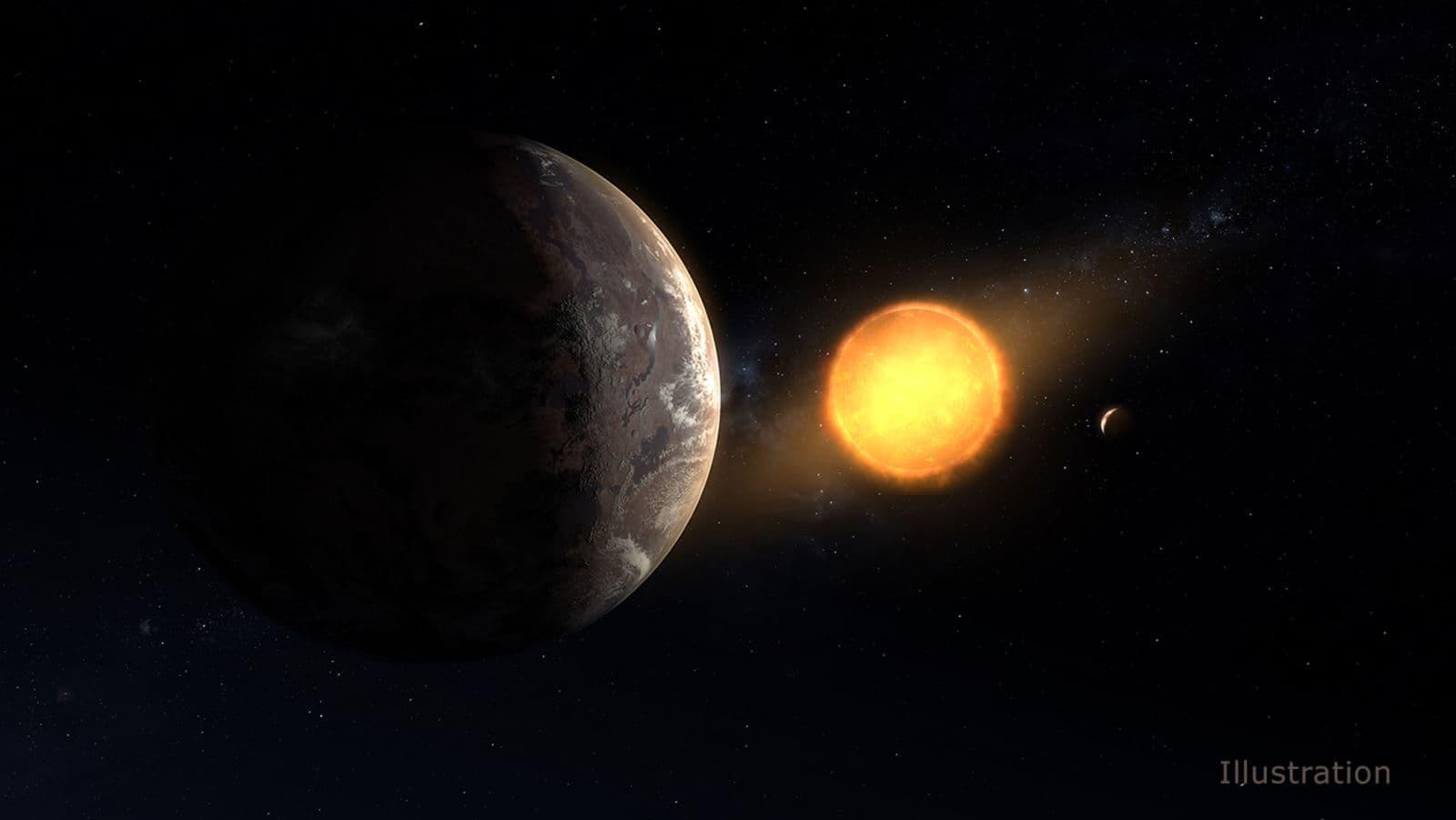 Representação artística de Kepler-1649c, a anã vermelha, e um segundo planeta anteriormente conhecido por existir neste sistema