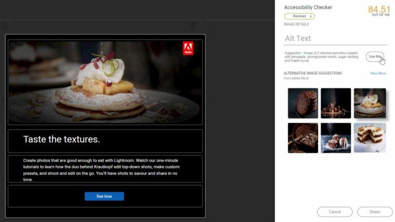Ferramenta de acessibilidade automatizada da Adobe