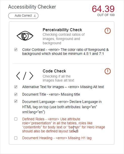 Pontuação de acessibilidade da ferramenta da Adobe