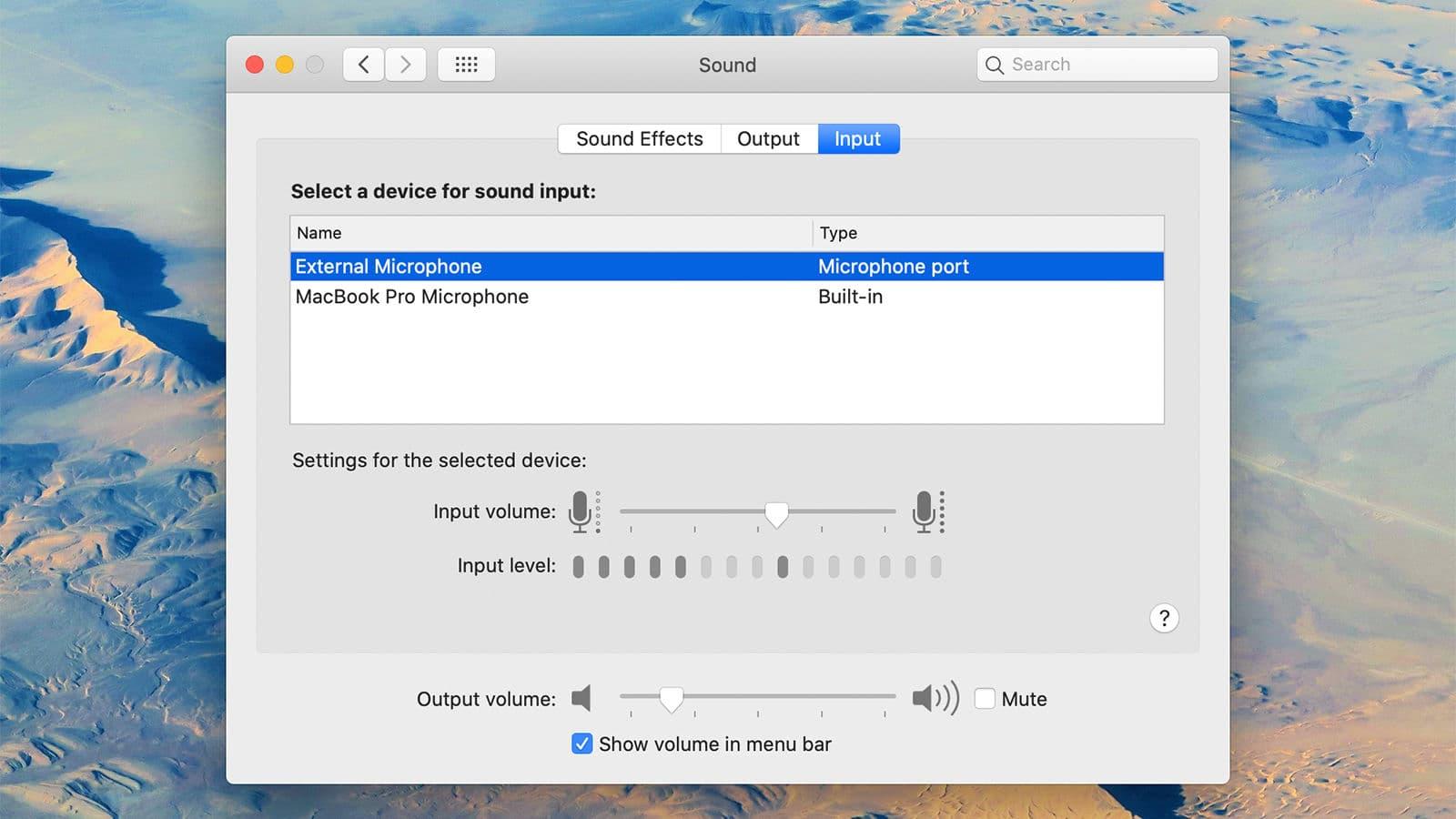 Ajustes do macOS para áudio e microfone