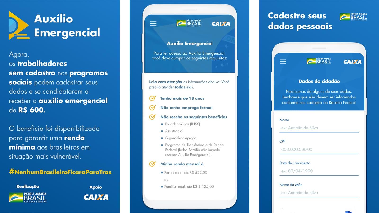 Telas do aplicativo de Auxílio Emergencial da Caixa
