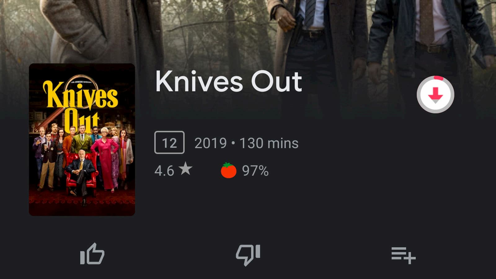 Opção de baixar filme em app