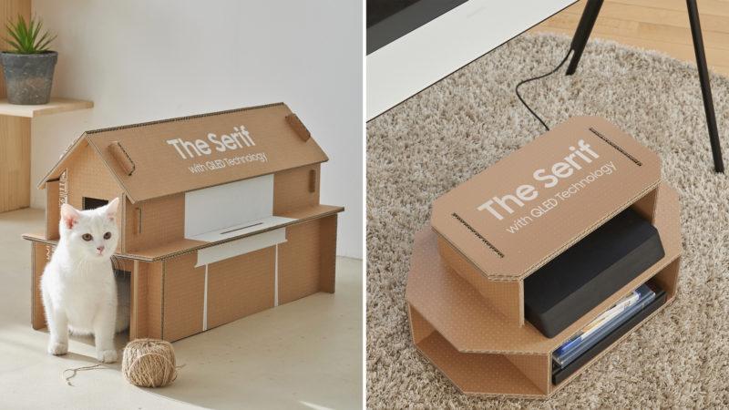 Caixa de TV da Samsung transformada em casa de gato. Crédito: Samsung
