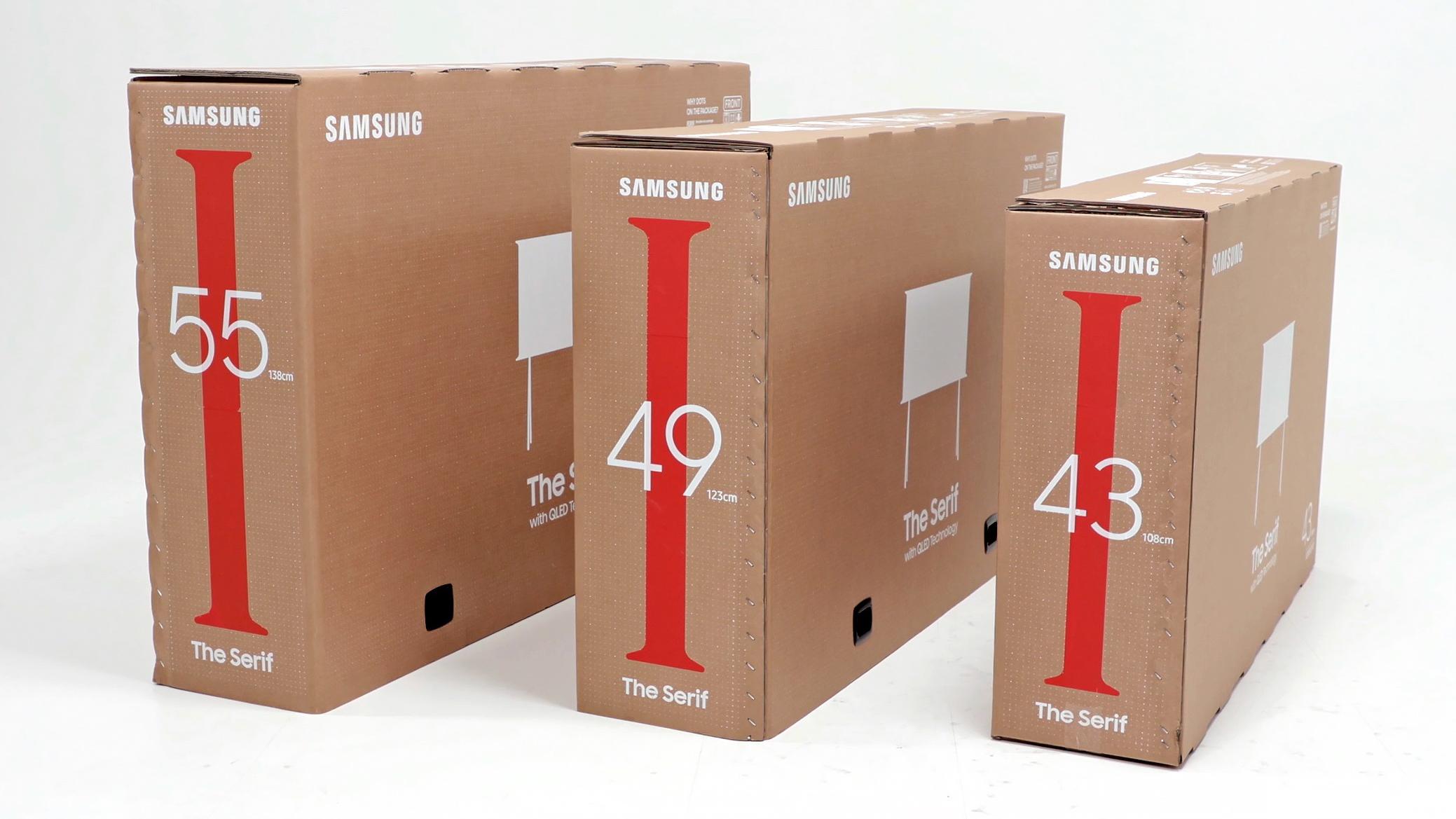Caixas de TV da Samsung. Crédito: Samsung