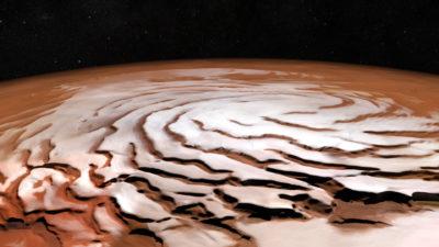 Perspectiva gerada em computador de calota polar norte de marte. Crédito: ESA/DLR/FU Berlin; NASA MGS MOLA Science Team