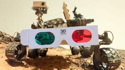 Rover curiosity ao fundo em montagem com óculos 3D