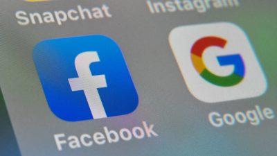 Logotipos do Facebook e do Google