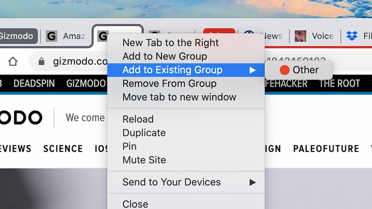 Opção para adicionar abas a um grupo