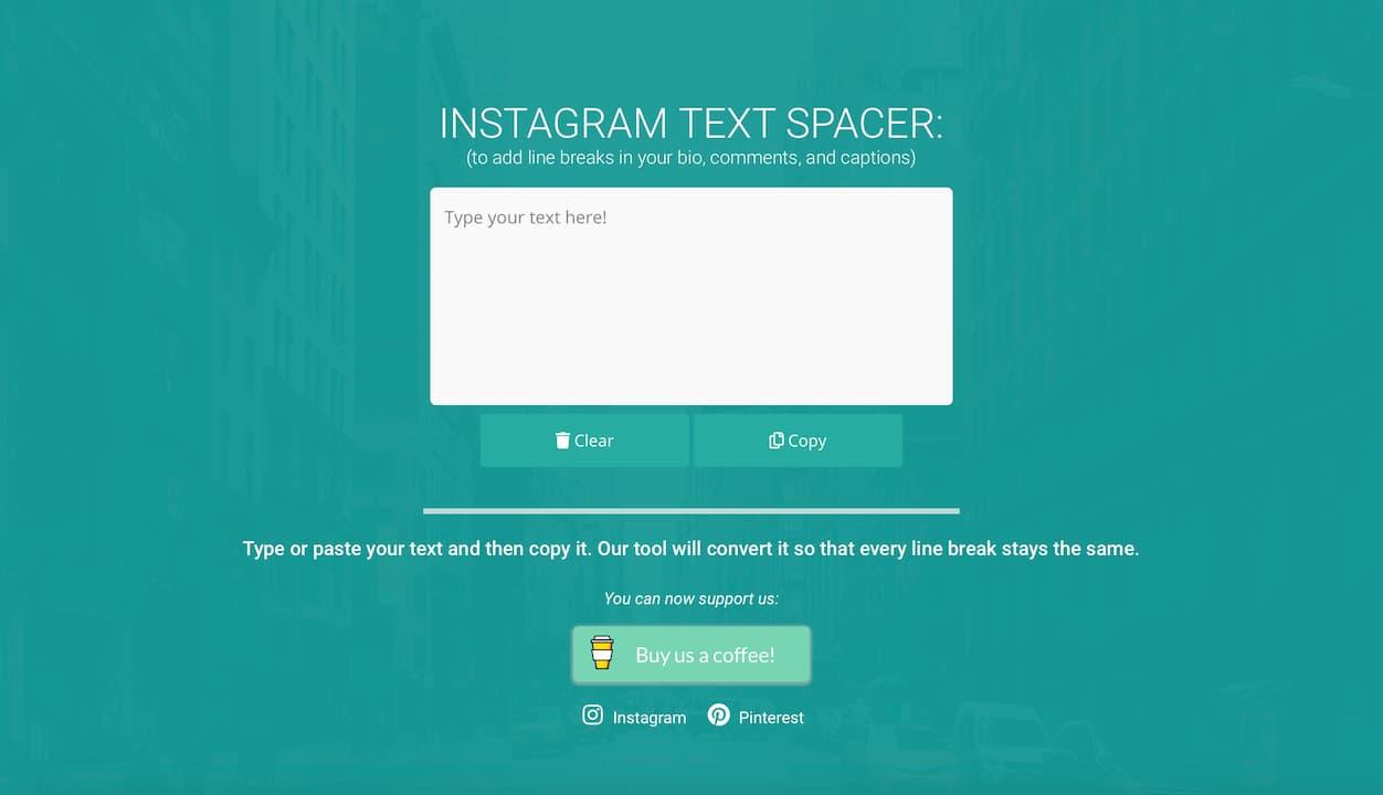 Aplicativo web para pular linhas no Instagram