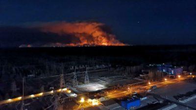 Incêndios se aproximaram da central de Chernobyl na sexta-feira, 10 de abril de 2020