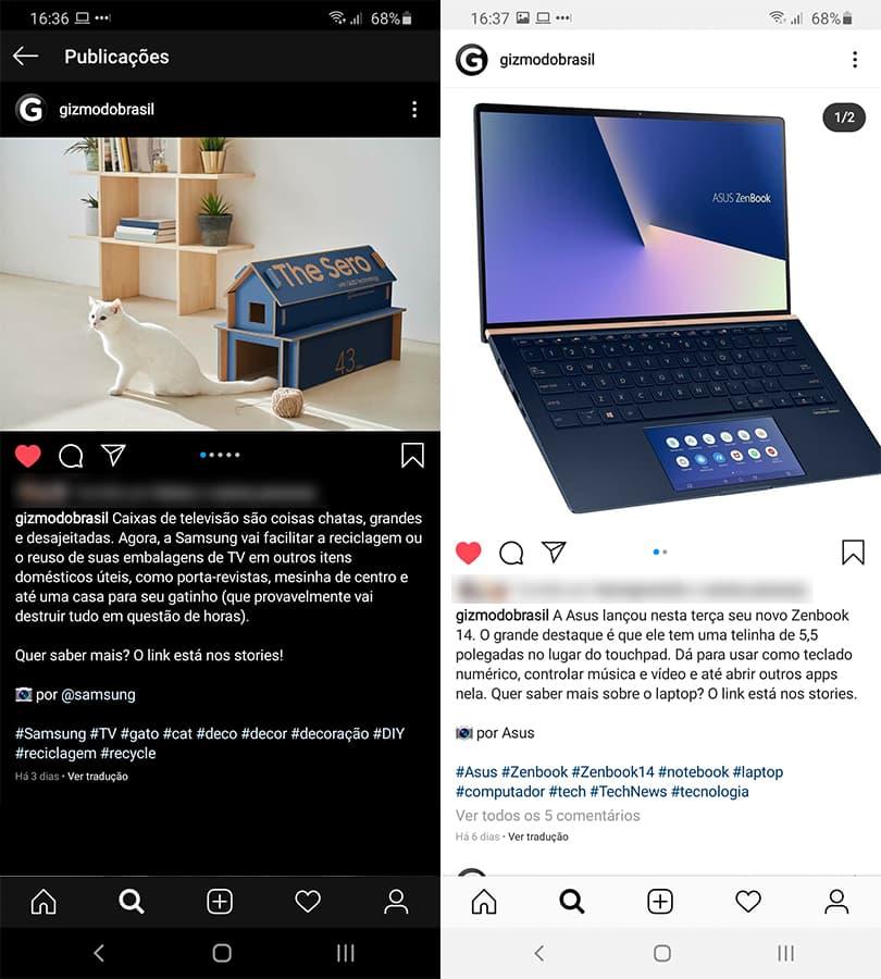 Posts do Instagram com quebra de linha