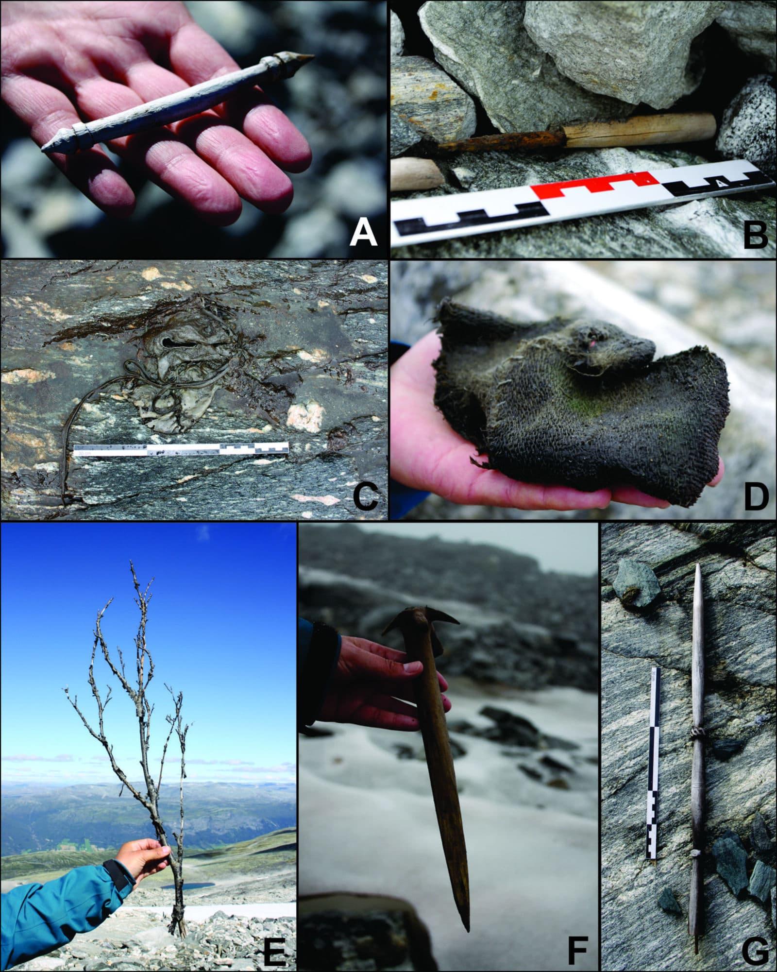(A) ferramenta de perfuração feita com chifre de cabra ou de cordeiro, (B) faca com cabo de madeira, (C) sapato, (D) luva, (E) galho seco, (F) ferramenta de madeira, e (G) uma roca de fiar