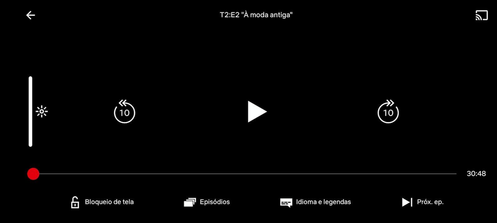 Opção de bloquear tela no aplicativo da Netflix