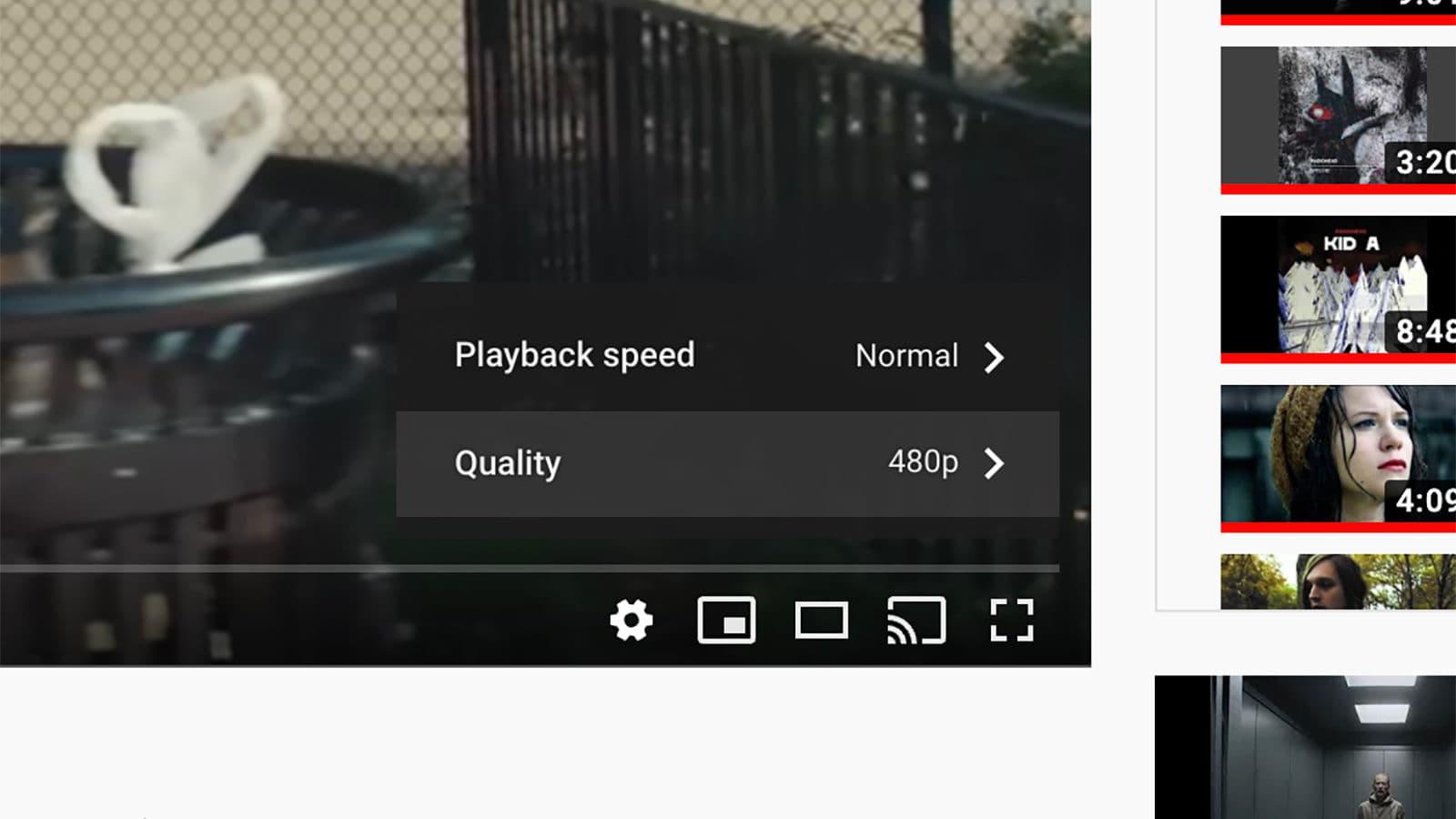 Ajuste de qualidade de vídeo do YouTube