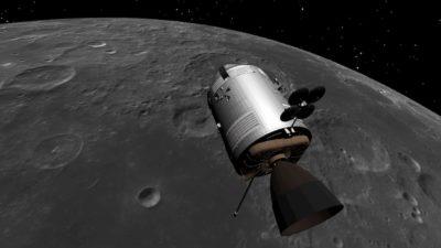 simulação SPICE do Módulo de Comando e Serviço da Apollo 15 em órbita à volta da Lua