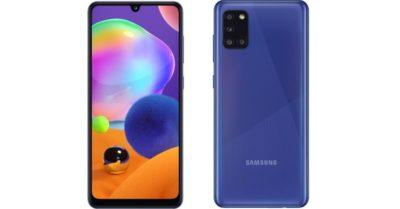 Smartphone Samsung Galaxy A31 em duas imagens, de frente e de trás. O aparelho é da cor roxa.