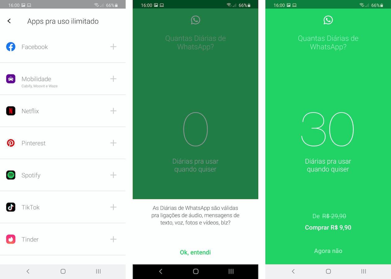 Opções de pacotes de aplicativos no Vivo Easy