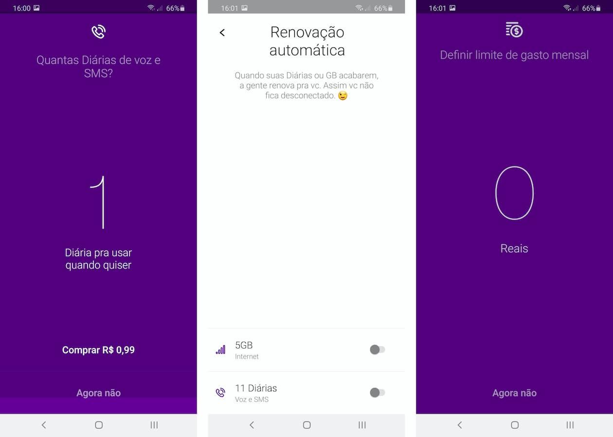 Telas de renovação automática e limite de gastos do Vivo Easy