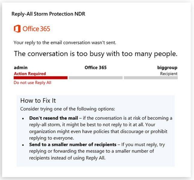 """Aviso de tempestade de """"responder para todos"""" exibida ao administrador de e-mail"""