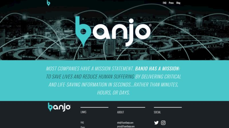 Tela do site da Banjo