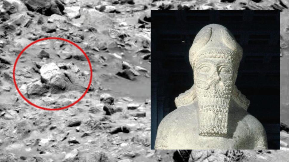 Imagem de Marte que lembra o de uma cabeça de uma estátua. Crédito: NASA/British Museum/Gizmodo