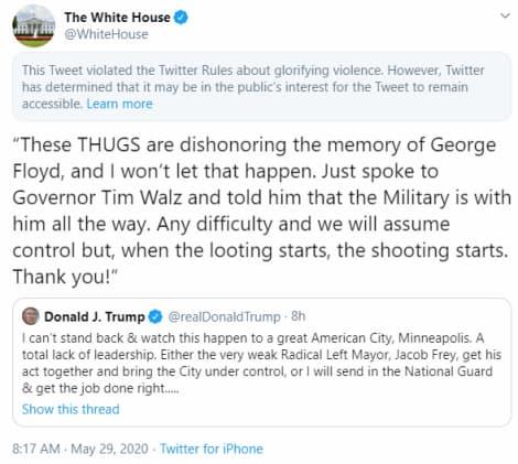 Captura de tela da publicação da Casa Branca que foi escondida pelo Twitter