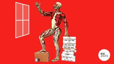 Ilustração com a anatomia do corpo humano ao lado de caixas de pizza