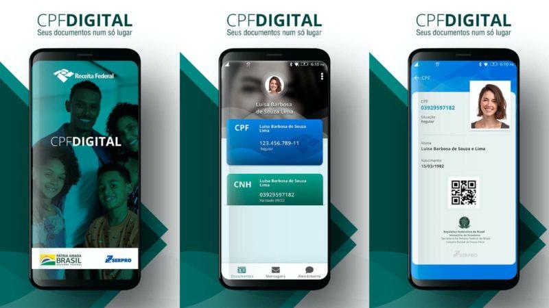 Telas do aplicativo CPF Digital