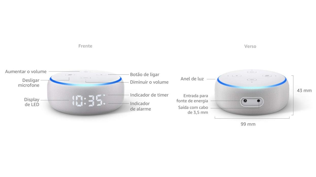 Detalhes de portas e botões do Echo Dot com relógio